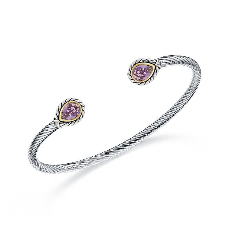 ST2750BA-Cable Designer inspired 2-tone Bangle with Bezel setting Pear shape Amethyst Cubic Zircon in Brass/Copper from China Top Jewelry Manufactuer