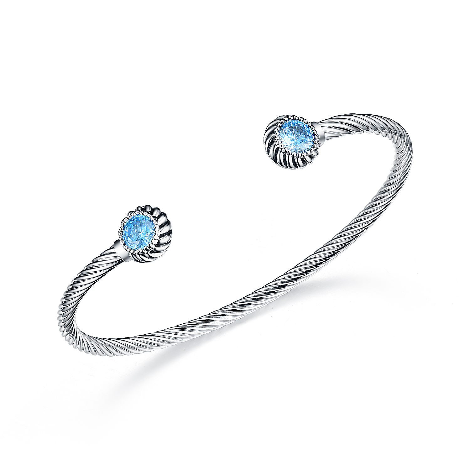 ST2652BA-Designer inspired Cable Bangle with bezel setting round Aquamarine Spinel  in Brass/Copper under Rhodium plated from China Top Jewelry factory