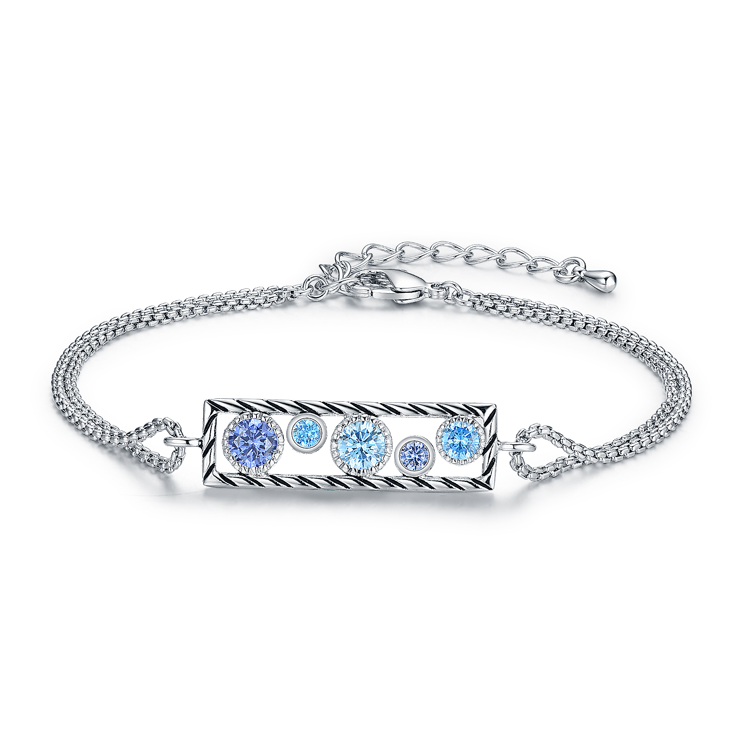 ST2696BR-Designer inspired Cable texture rectangle Bracelet, with bezel setting Round Tanzanite Cubic Zircon & Aquamarine Spinel in Brass/Copper under Rhodium plated from China Top Jewelry factory