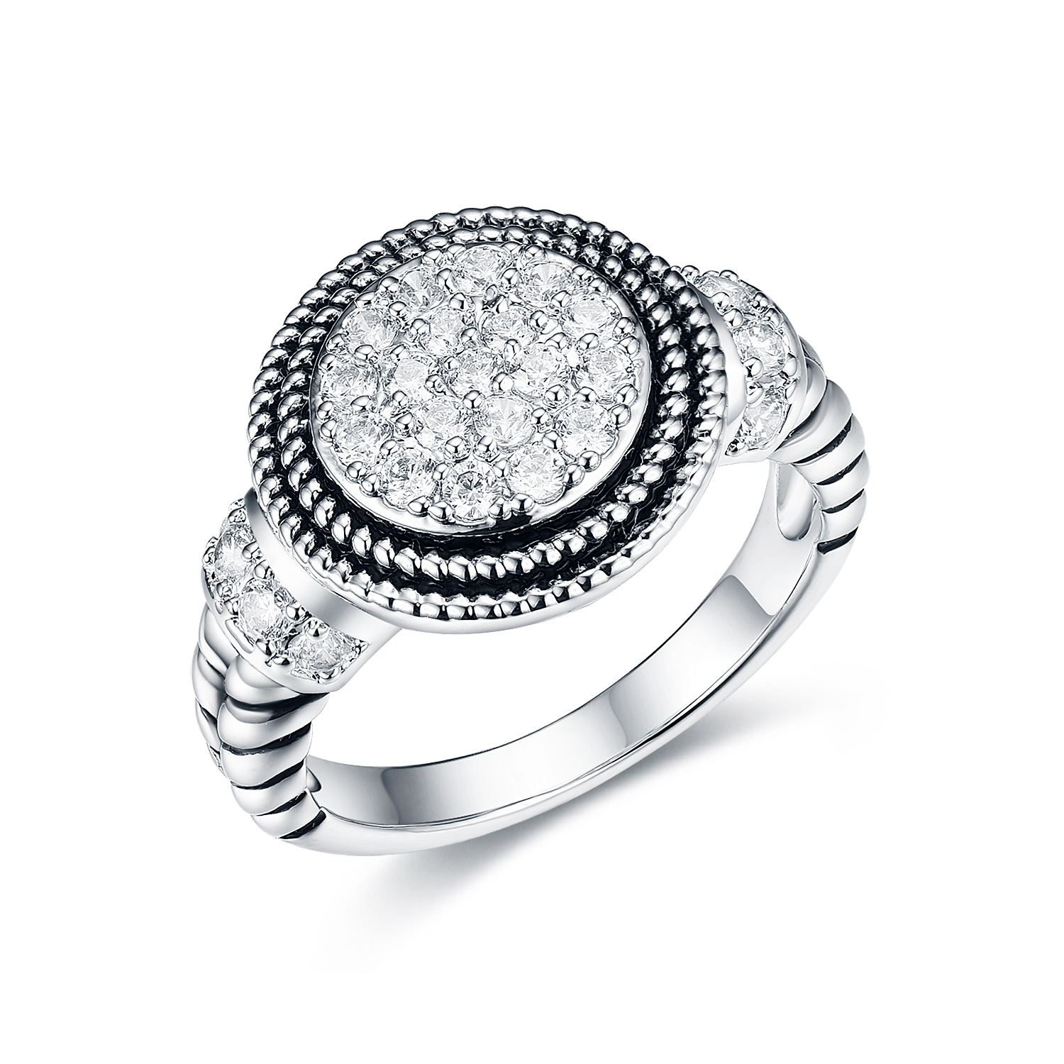 ST2680R-Designer inspired antique,Cable texture Ring with Round White Pave Cubic Zircon in Center under Rhodium plated from China Top Jewelry vendor