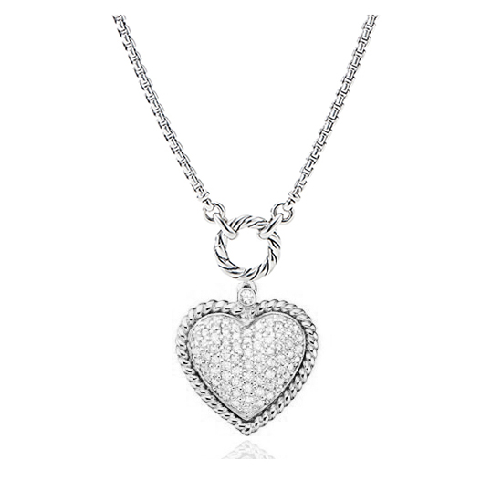 ST2754N-Designer inspired cable texture Heart Charm Necklace with White Pave CZ in Brass/Copper plated Rhodium from China Top Jewelry factory.
