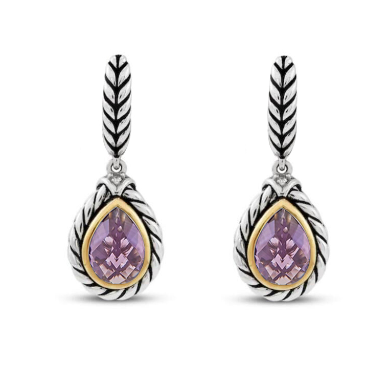 ST2750E-Cable Designer inspired 2-tone Earring with Bezel setting Pear shape Amethyst Cubic Zircon in Brass/Copper from China Top Jewelry Manufactuer