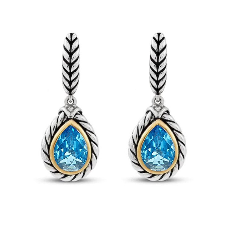 ST2750E-Cable Texture Designer inspired two-tone Pear shape Earring with Bezel setting Pear shpe Aquamarine Spinel in Silver from China Top Jewelry Manufactuer