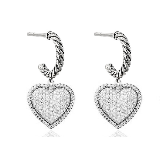 ST2754E-Designer inspired Cable texture heart Earring with White Pave Cubic Zircon in Center under Rhodium plated from China Top Jewelry vendor