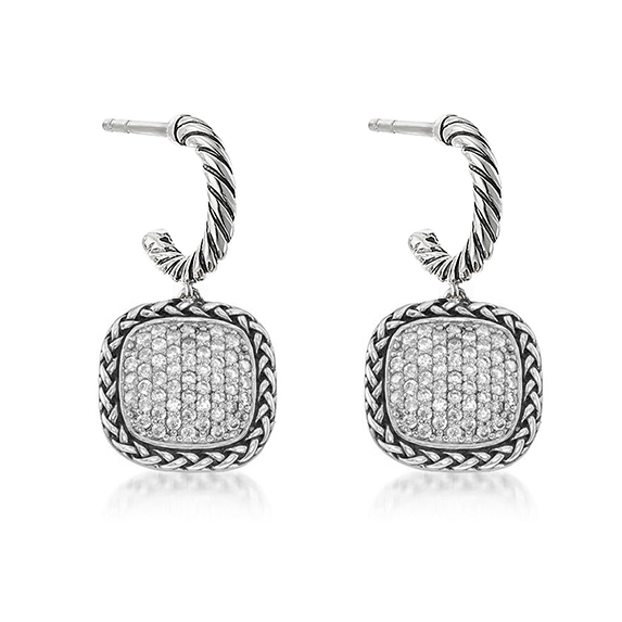 ST2758E-Designer inspired antique Cable texture Square shape Earring with White Pave Cubic Zircon in Brass/Copper plated Rhodium from China Top Jewelry factory