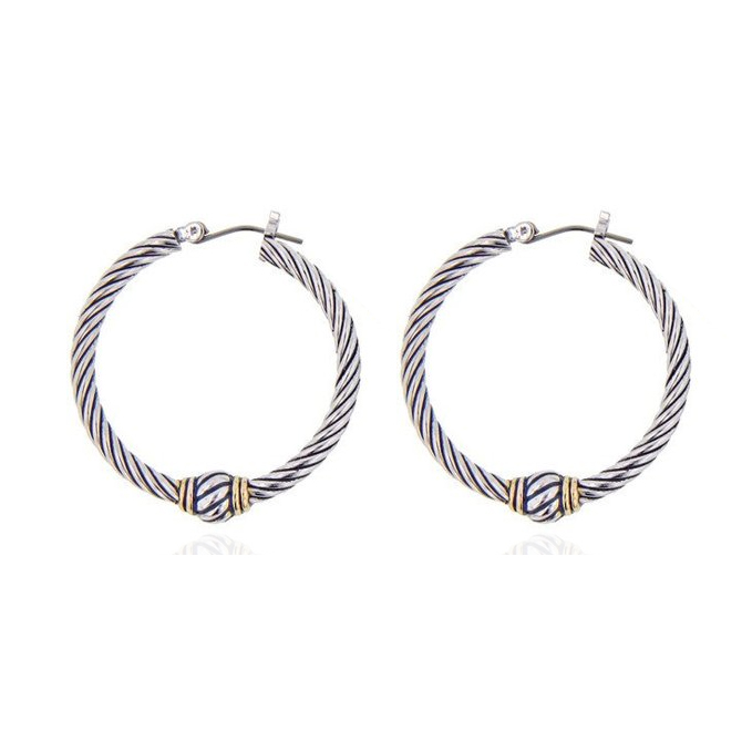 ER4573- Designer inspired antique Cable texture 2-tone Hoop Earring in Silver China Top Jewelry Manufactuer