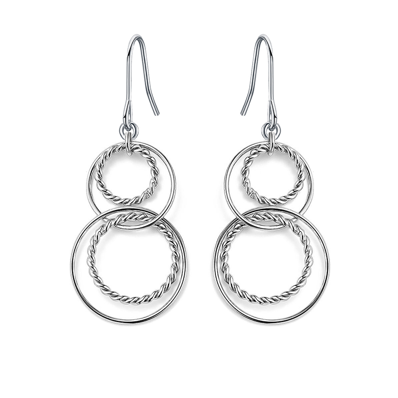 ER4572-Cable Circels Earring in Brass/Copper under Rhodium plated from China Top Jewelry Manufactuer