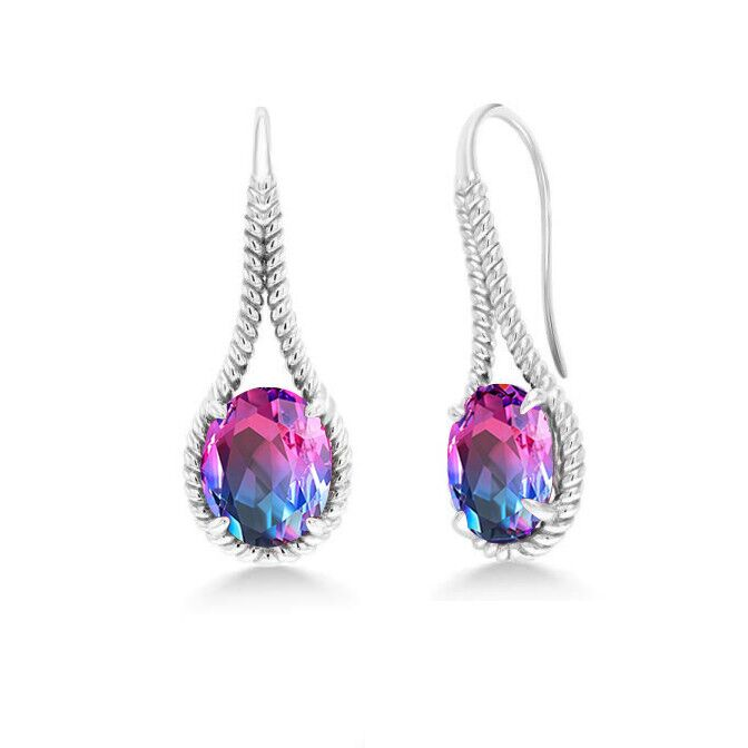 ST2756E-Designer inspired cable texture pear shape Earring with a oval magic rainbow color stone in Silver plated Rhodium from China Top Jewelry factory