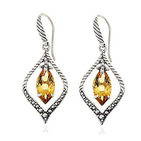 ST2760E-Designer inspired cable Marquise Shape Earring with a Champagne Marquise CZ  under Rhodium plated from China Top Jewelry vendor