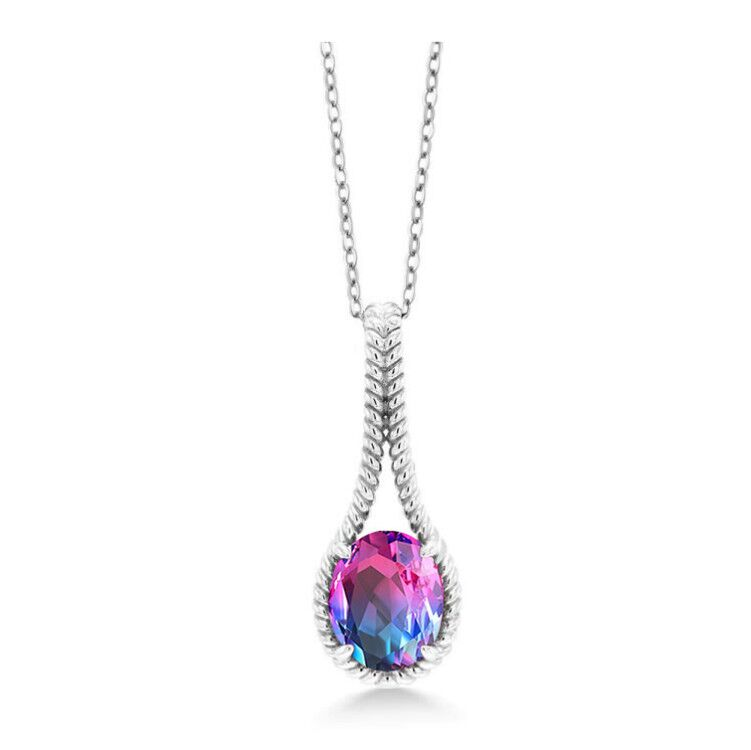 ST2756P-Designer inspired cable texture pear shape Pendant with a oval magic rainbow color stone in Silver plated Rhodium from China Top Jewelry factory
