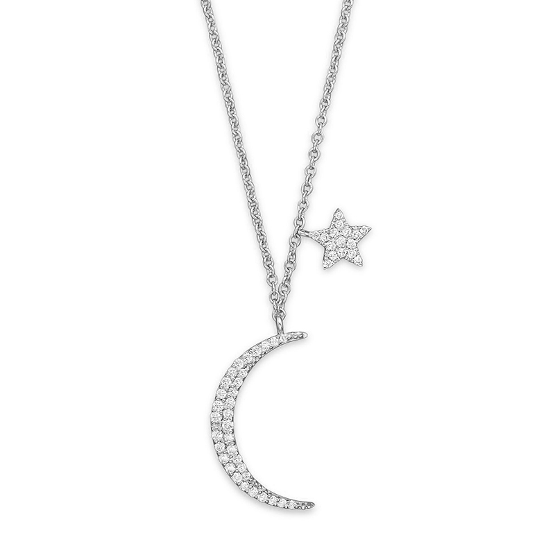 PE3501-Popular Moon & Star necklace in Sterling Silver plated Rhodium from China Reliable Jewelry factory