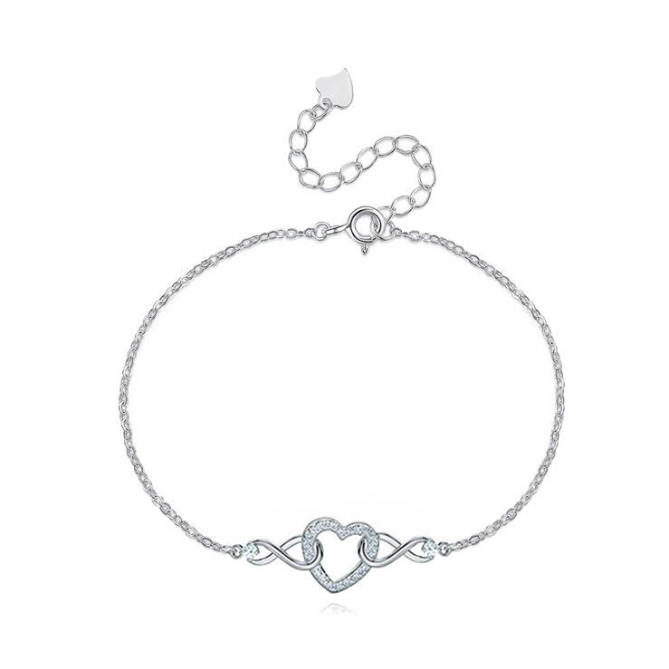 ST2763- Classic & Timeless Infinity Heart Bracelet & Necklace with White CZ in Sterling Silver plated in Rhodium from China Top Jewelry Factory