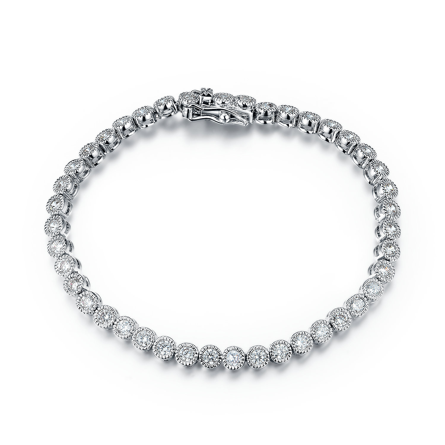 BR3393-3MM Bezel tennis bracelet in Sterling silver plated Rhodium from China Top jewelry factory