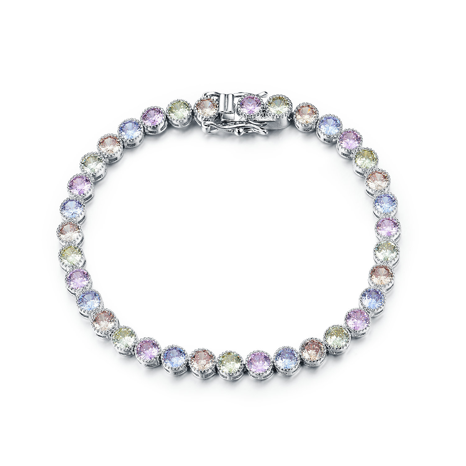 BR3400-4MM Multi color Bezel tennis bracelet in brass plated Rhodium from China Jewelry supplier