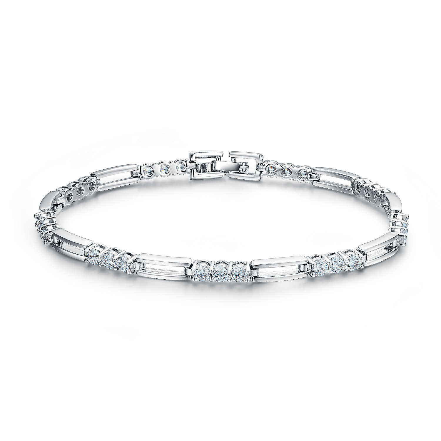 BR3469- Classic & timeless 3-Stone links bracelet in Sterling Silver under Rhodium plating from China Jewelry Vendor