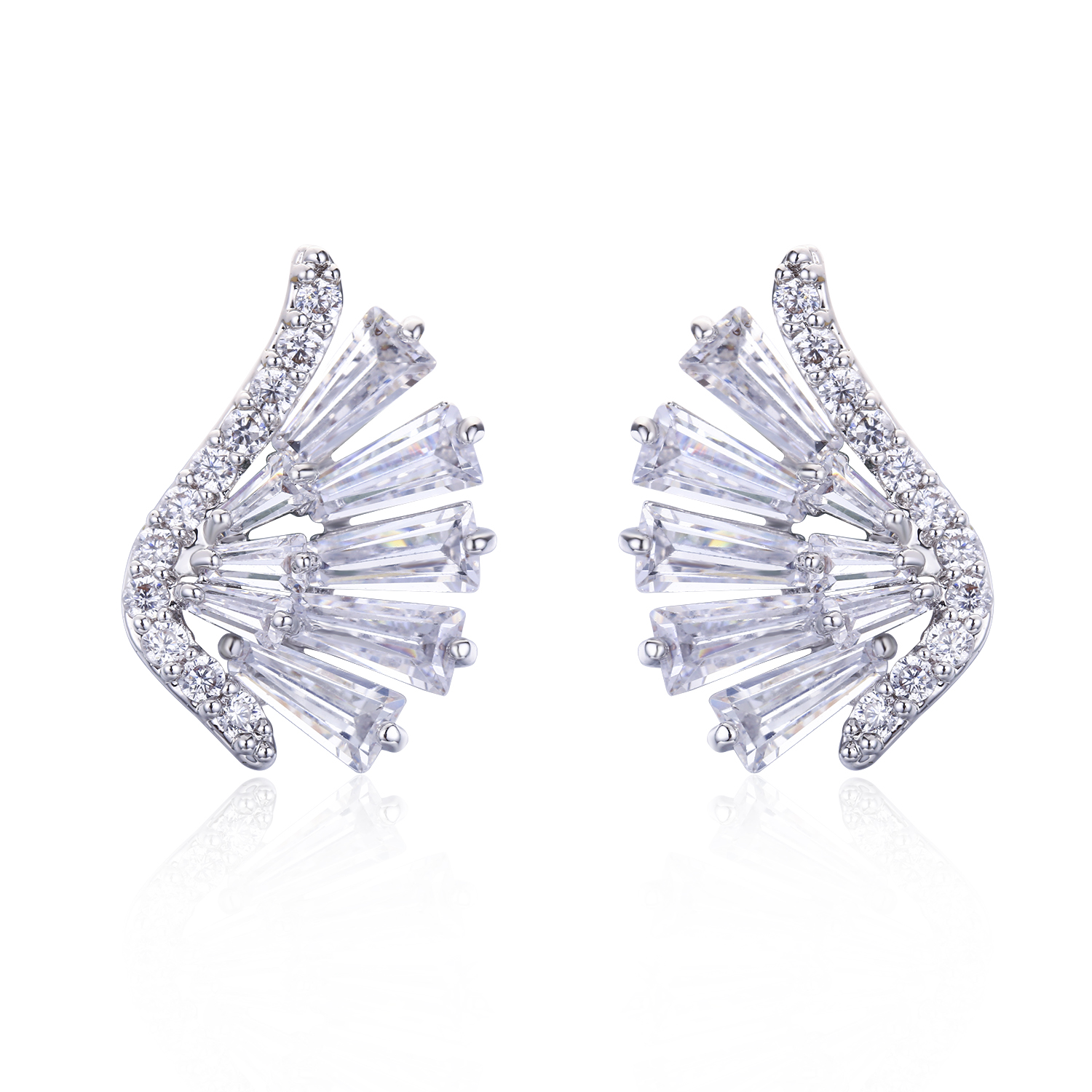 ER3419-Angel Wing Earring with Round & Baguette CZ in Silver/Brass under Rhodium plating from China Top Jewelry supplier