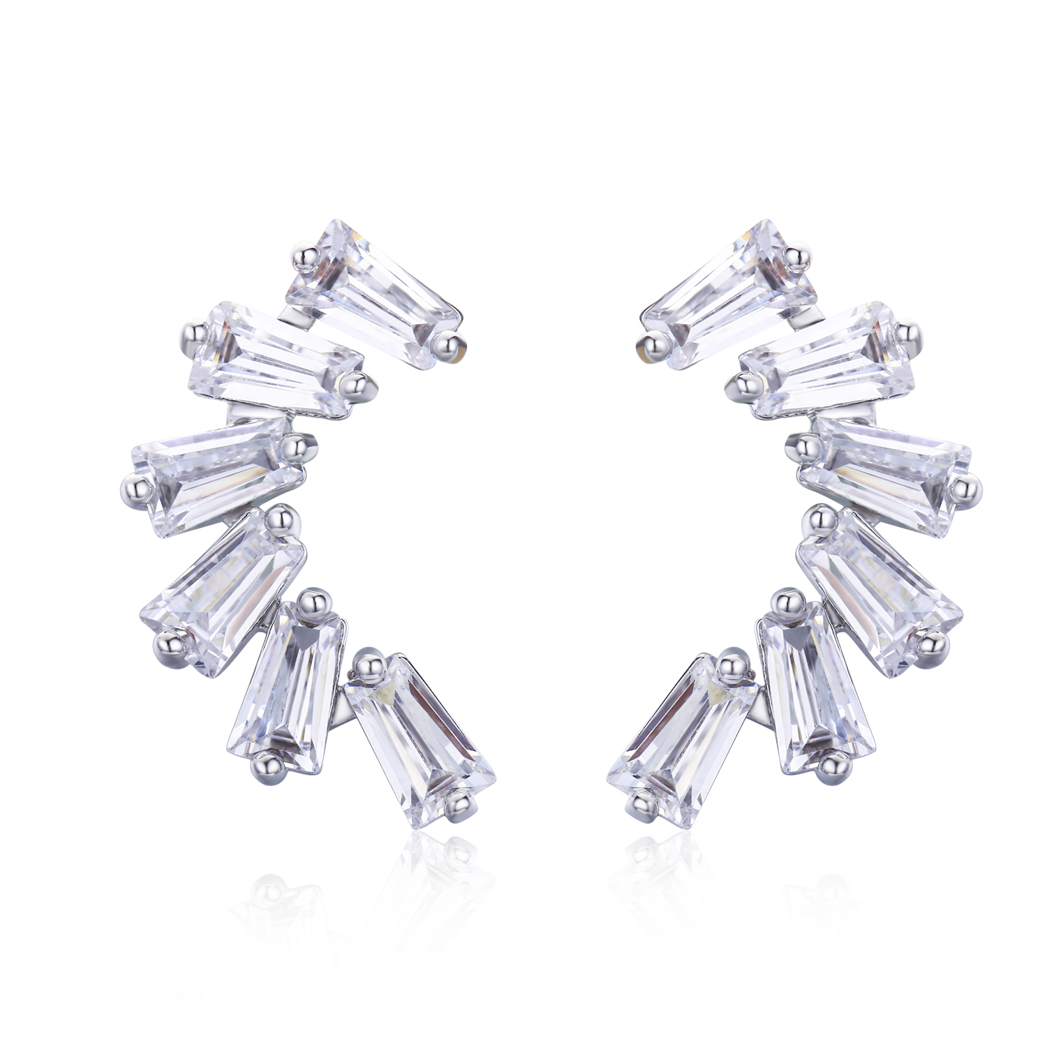 ER3449-Wing Earring with Baguette Cubic Zircon in Silver plated Rhodium from China Top Jewelry factory