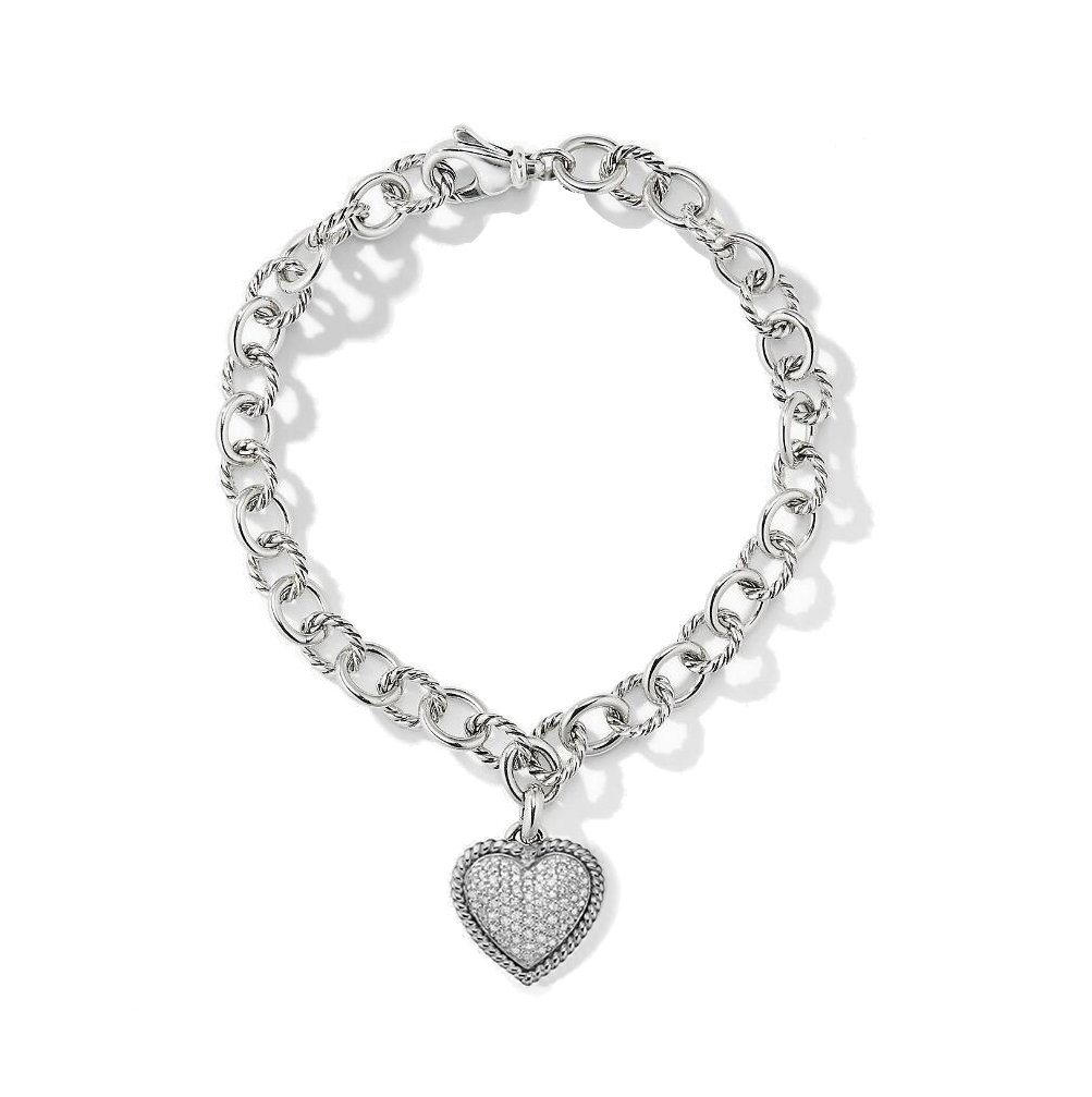 ST2754BR-Designer inspired cable cirlces links bracelet with a White CZ pave heart Charm in Brass/Copper plated Rhodium from China Top Jewelry factory.