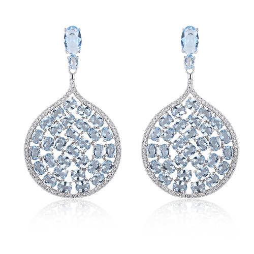 ST2235-Luxury Dangling Aquamarine Earring and Pendant Jewelry Set surrounded White CZ in Sterling Silver/Brass plated Rhodium from China Top Jewelry factory