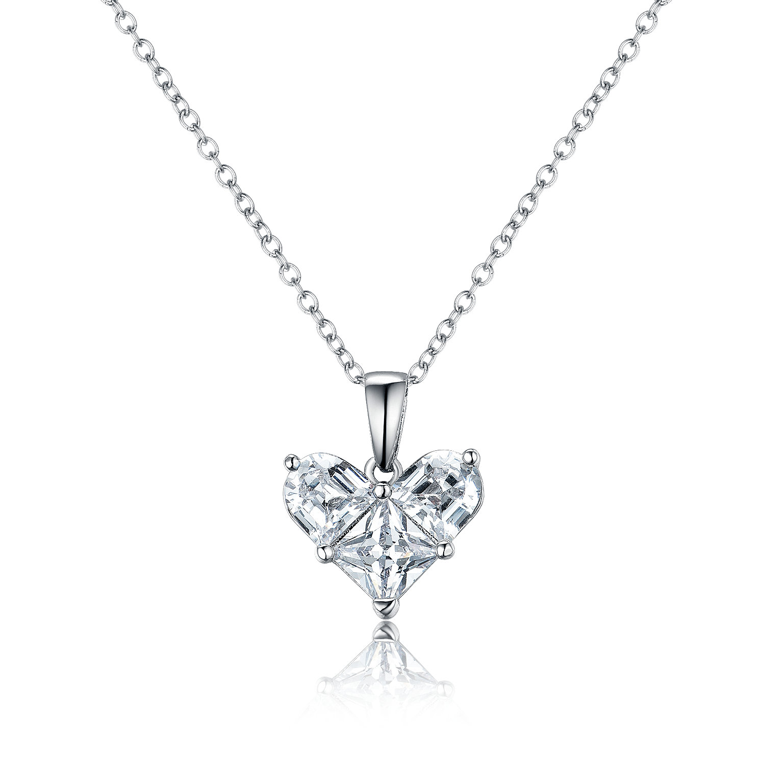 PE3504- Heart Pendant with half moon CZ & Square CZ in Sterling Silver/Brass plated Rhodium from China Jewelry Manufacturer
