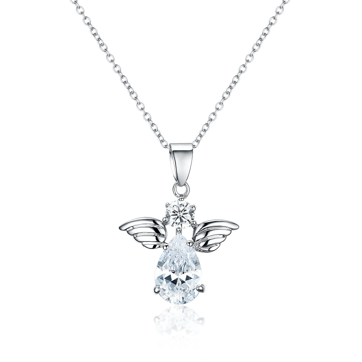 PE3500-Classic & Timeless Angel Pendant with a Round and Pear Shape CZ in Sterling Silver/Brass under Rhodium plating from China Top Jewelry vendor