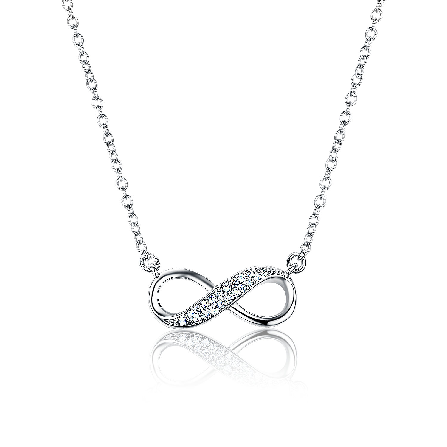 PE3502-Infinity Necklace with White CZ in Silver under Rhodium plating from China Jewelry Manufacturer