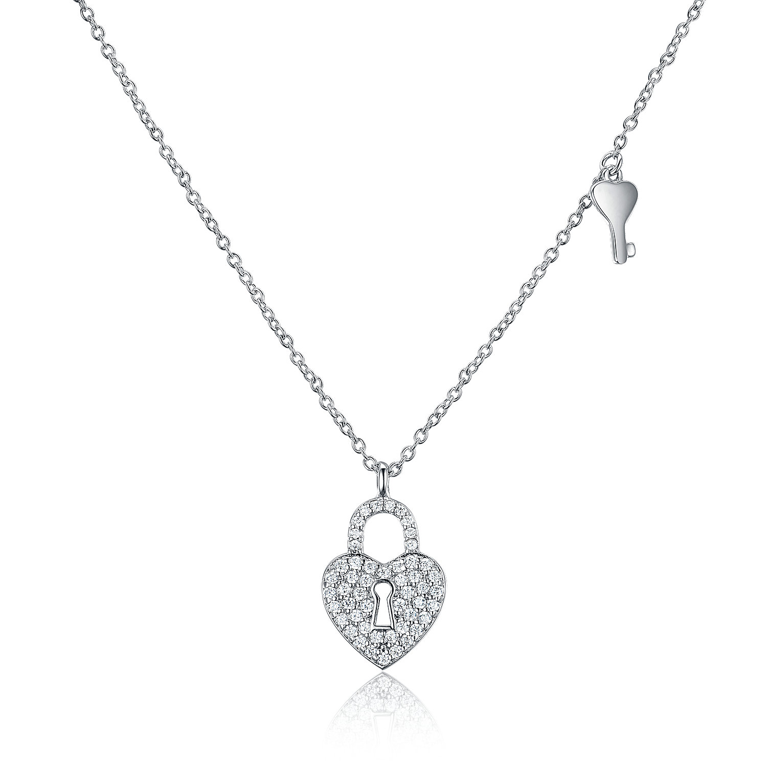 NE2844-Heart lock and Key necklace with White Cubic Zircon in Silver plated Rhodium from China reliable Jewelry factory
