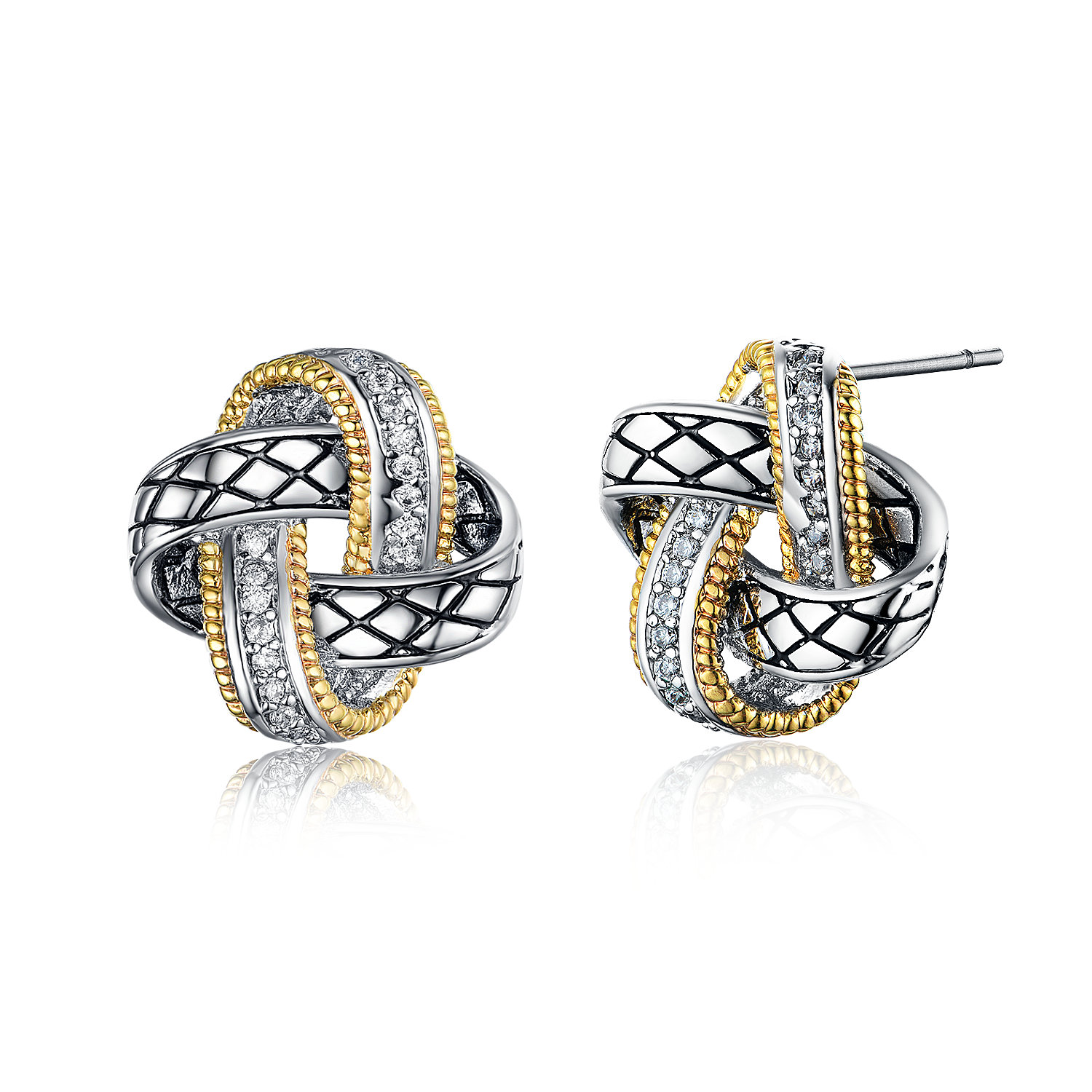 ST2766E-Designer inspired Two-tone KNOT Earring with diamond shape texture in brass from China reliable jewelry factory