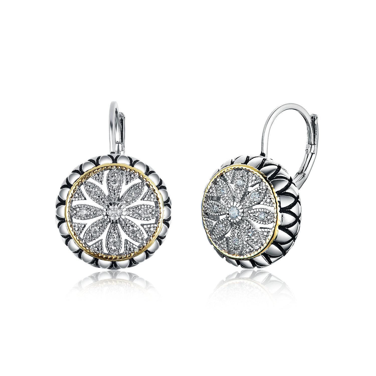 ST2768E-Designer inspired Two-tone Round Leverback Earring with diamond shape texture in brass from China reliable jewelry factory Vendor