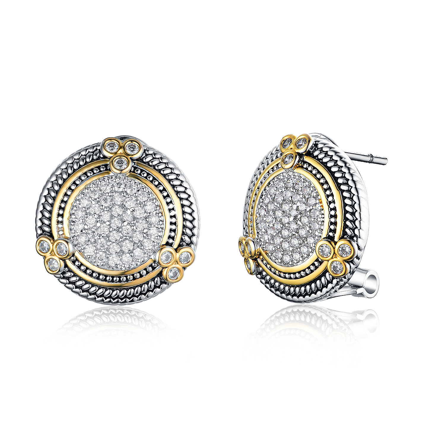 ST2765E-Designer inspired Cable texture Two-tone Round Earring with White CZ in center in brass from China reliable jewelry factory