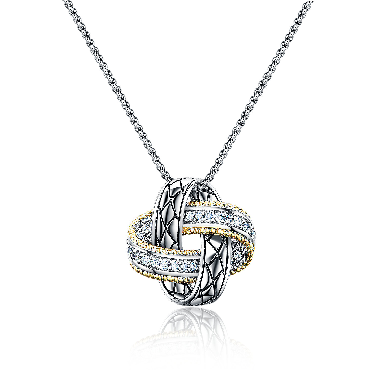 ST2766P-Designer inspired Two-tone KNOT Pendant with diamond shape texture in brass suspends a 18inch box chain with  2
