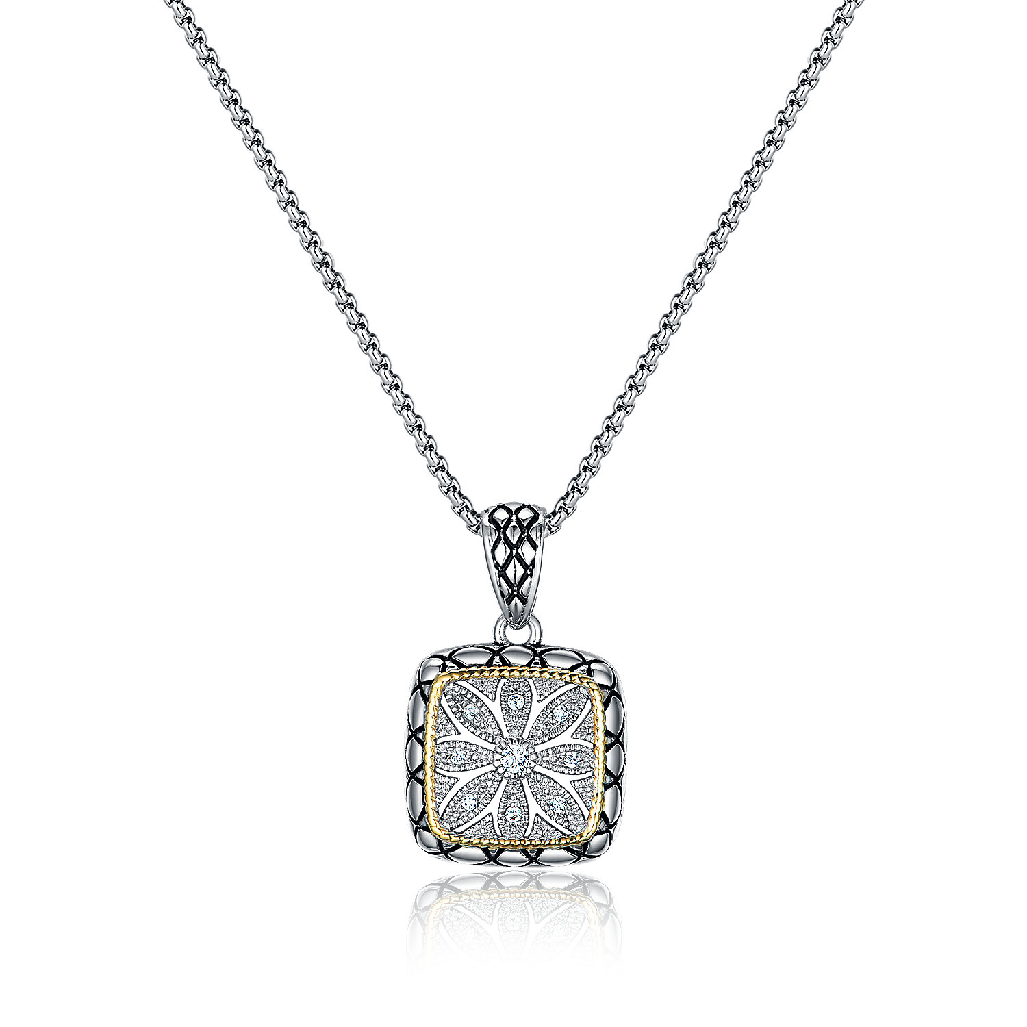 ST2767P-Designer inspired 2-tone Squre Pendant with diamond shape texture in brass  suspends a 18inch box chain with  2