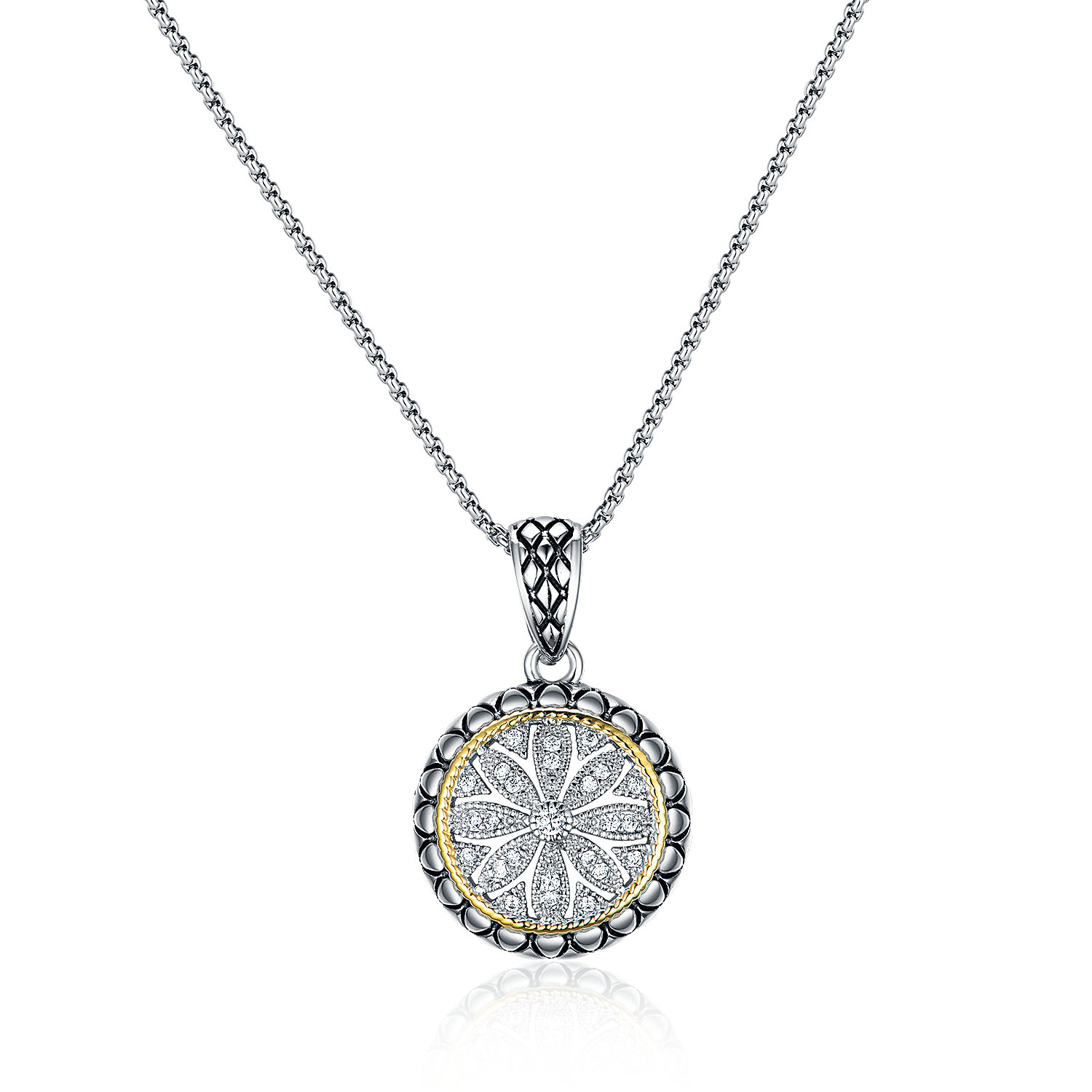 ST2768P-Designer inspired Two-tone Round Pendant with diamond shape texture in brass suspends a 18inch box chain with  2