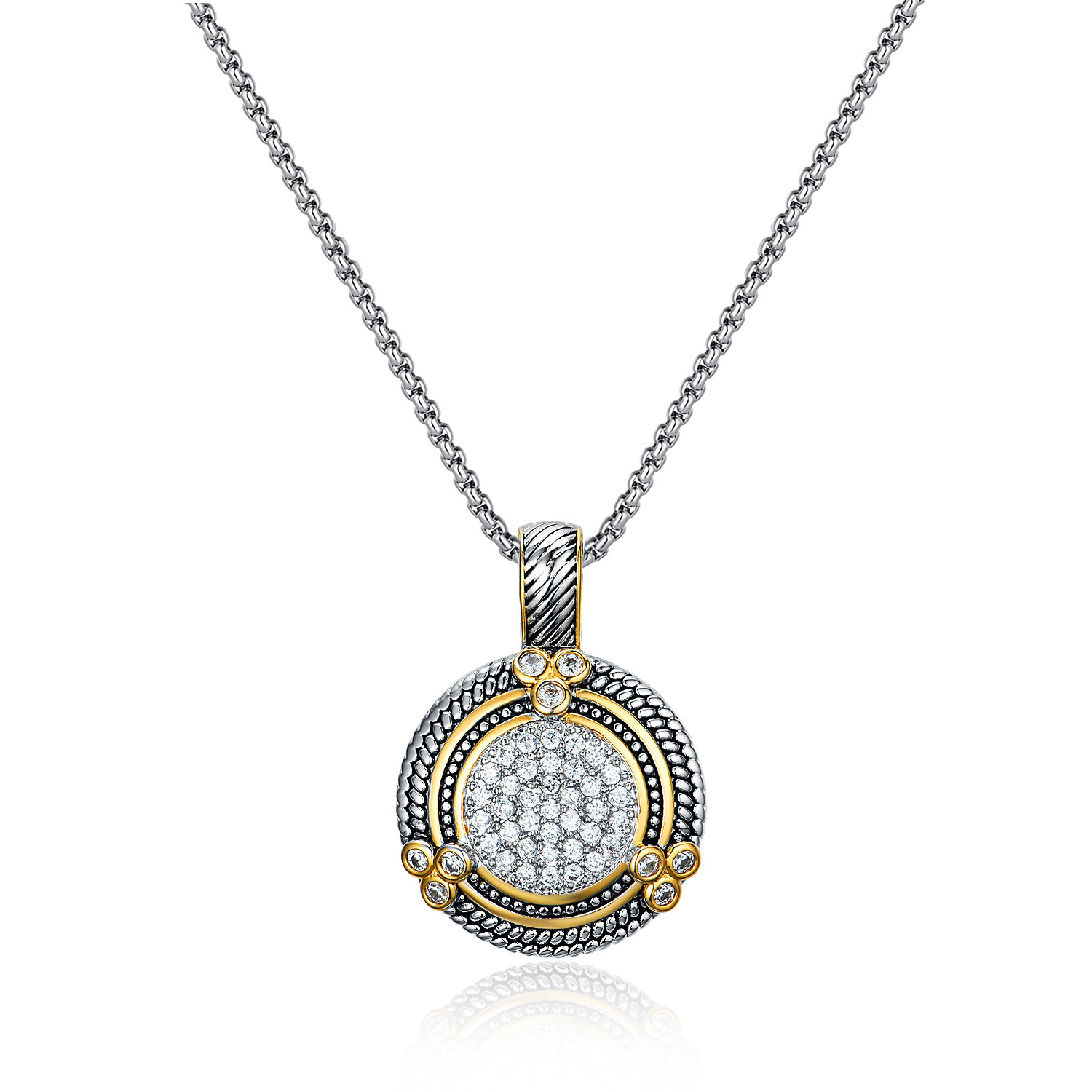 ST2765P-Designer inspired Cable texture Two-tone Round Pendant with White CZ in center in brass suspends a 18inch 2mm box chain with  2