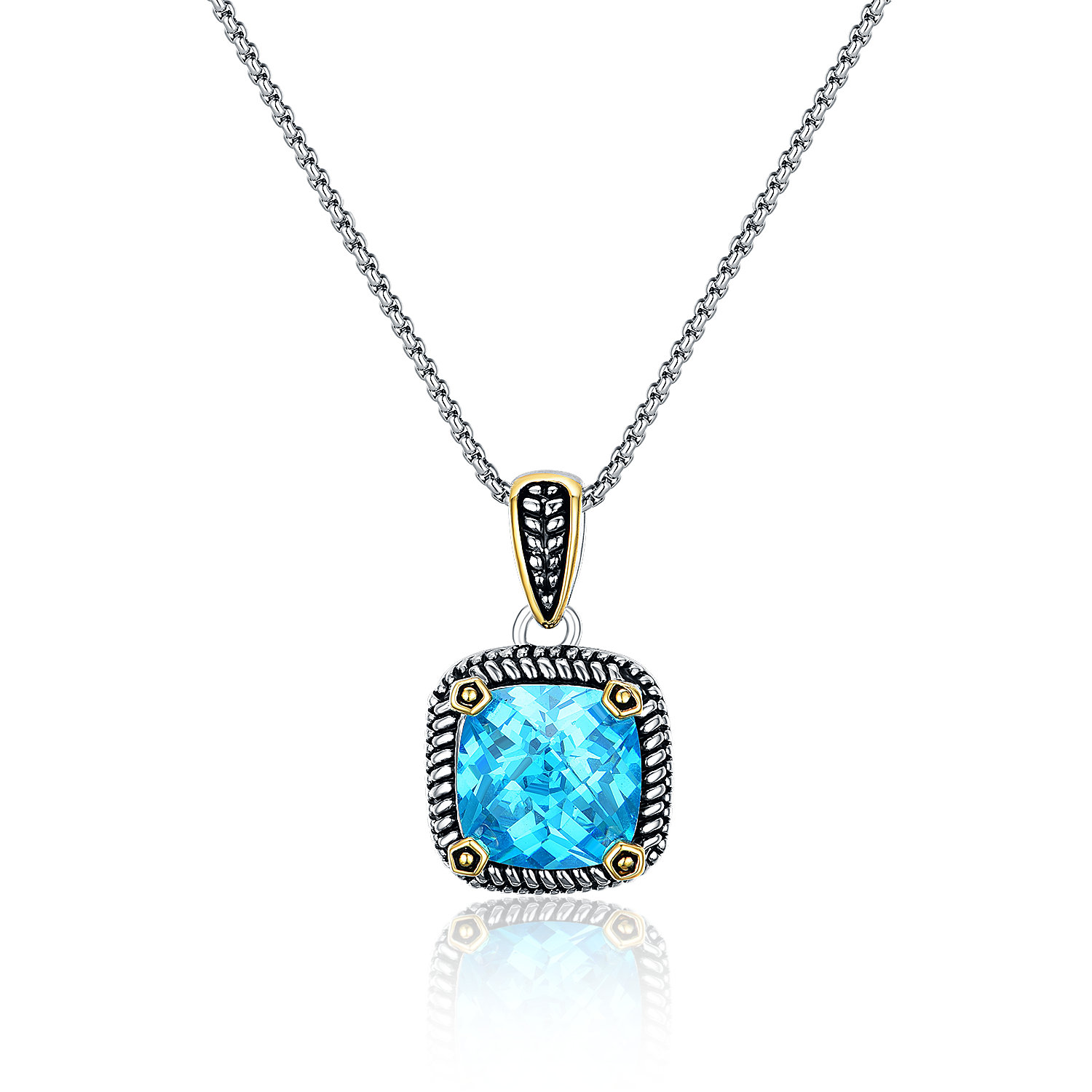 ST2764P-Designer inspired Cable Two-tone Square Pendant with an Aquamarine Stone in brass suspends a 18inch 2mm box chain with  2