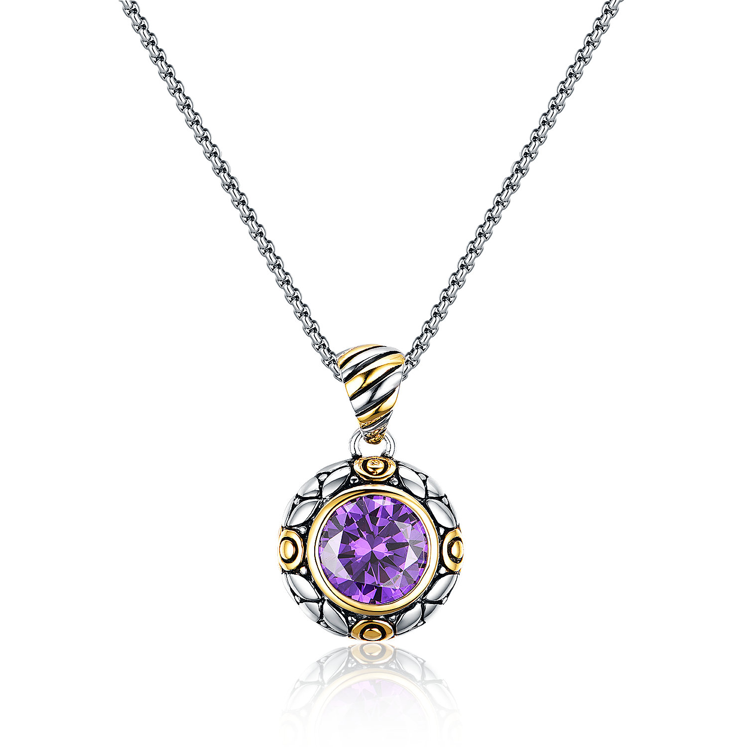ST2769P-Designer inspired 2-tone Round Pendant with a bezel Amethyst CZ suspends a 18inch 2mm box chain with  2