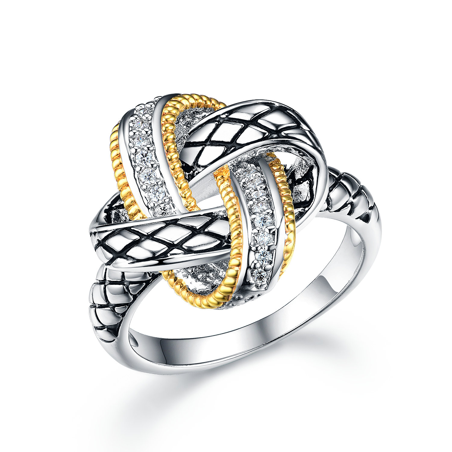 ST2766R-Designer inspired Two-tone KNOT Ring with diamond shape texture in brass from China reliable jewelry factory