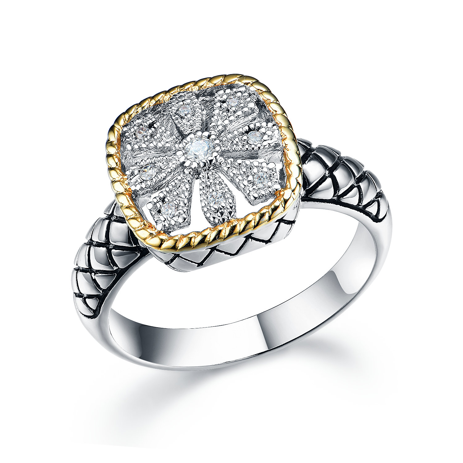ST2767R-Designer inspired 2-tone Squre Ring with diamond shape texture in brass from China reliable jewelry supplier