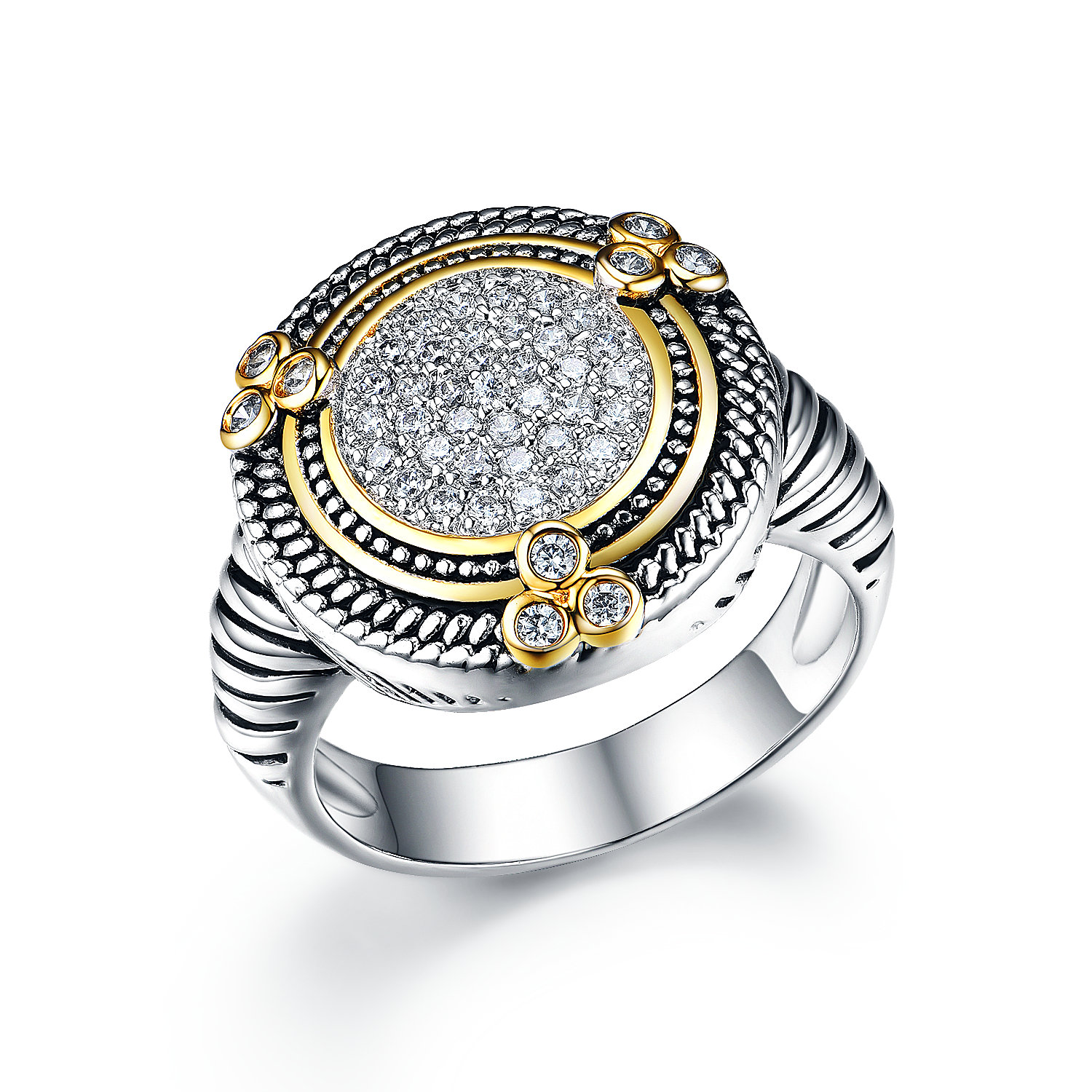 ST2765R-Designer inspired Cable Texture Two-tone Round Ring with White CZ in center in brass from China reliable jewelry factory