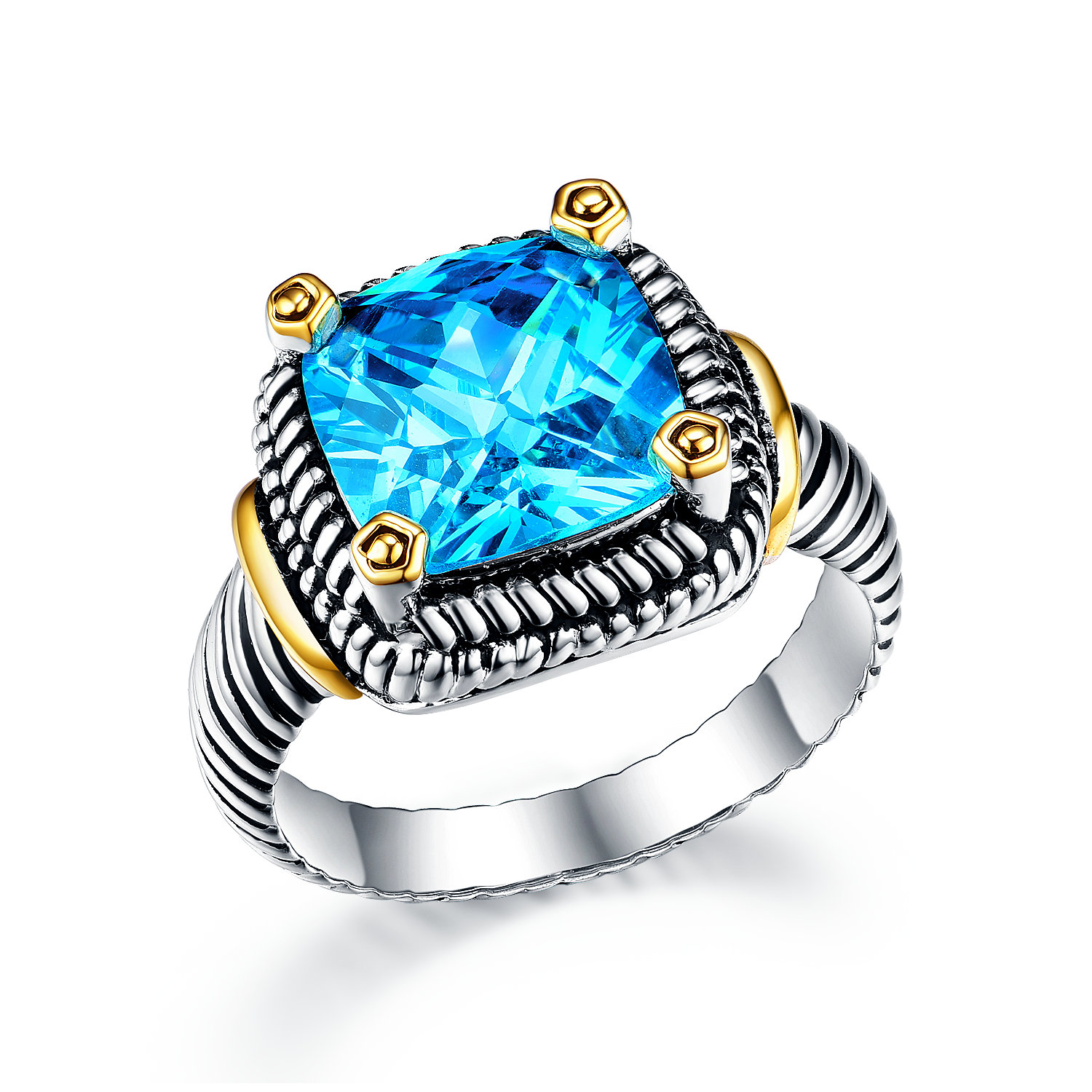 ST2764R-Designer inspired Cable Two-tone Square Ring with an Aquamarine Stone in brass from China reliable jewelry Manufacturer