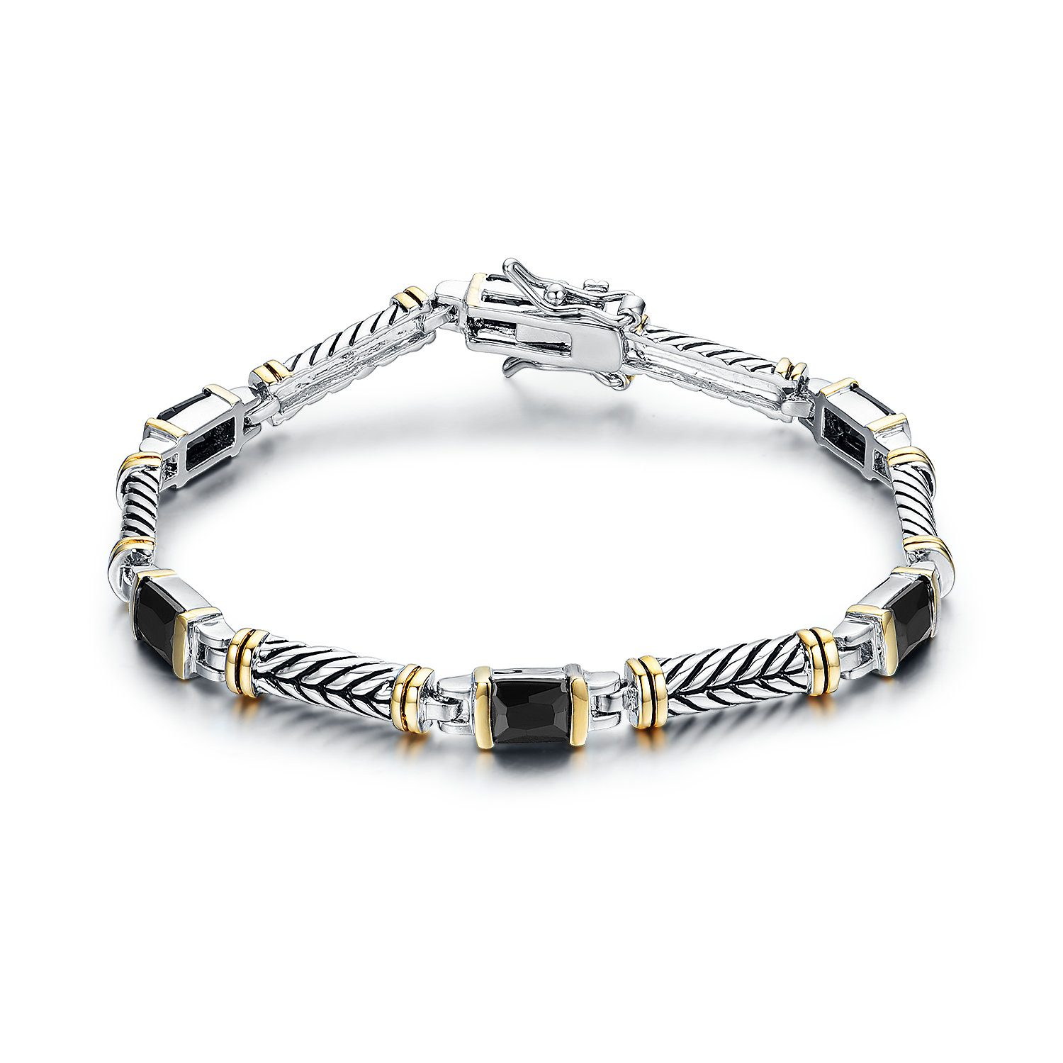 BR2225-Designer inspired cable texture 2-tone bracelet with Bezel black CZ from China reliable Jewelry factory