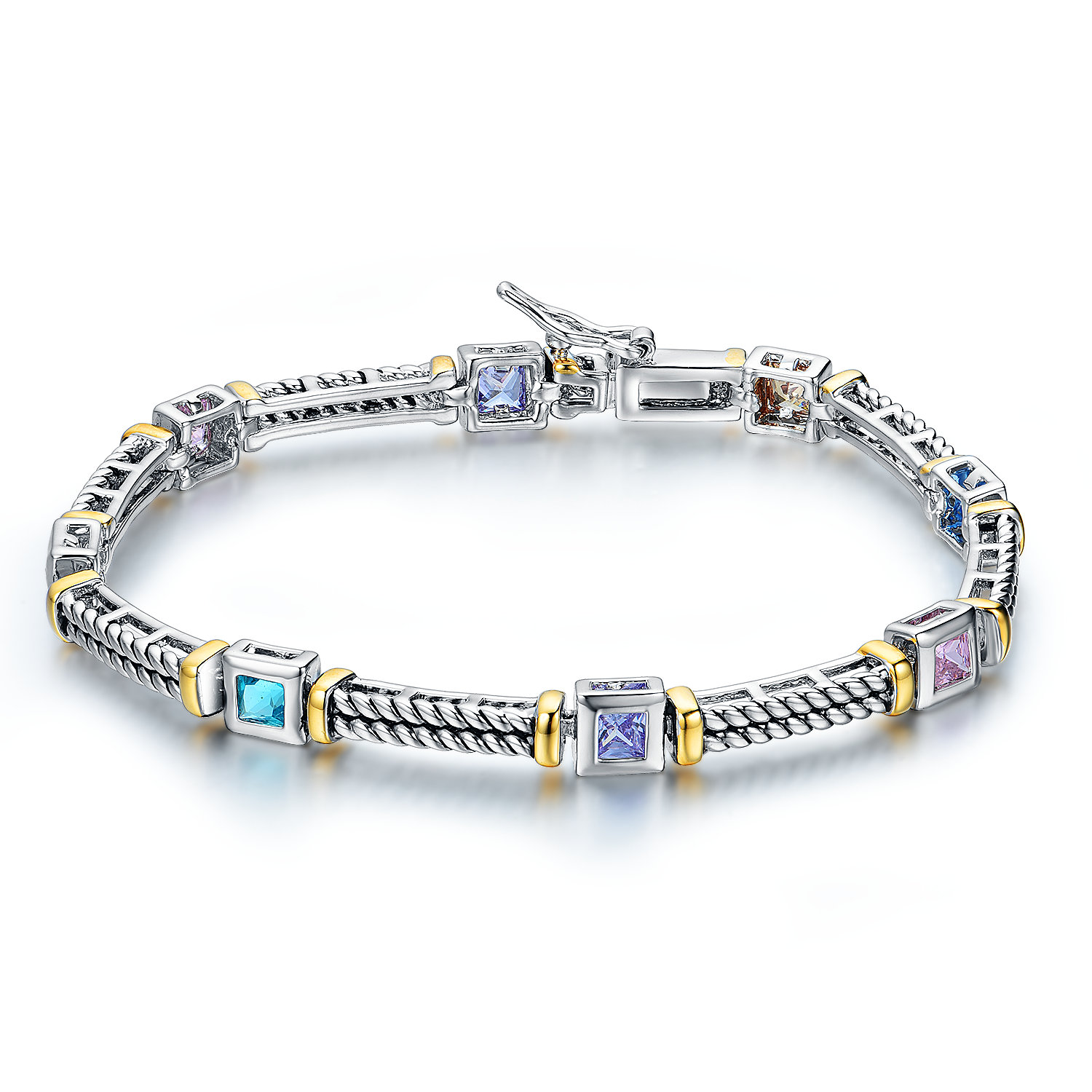 BR3120-Designer inspired antique cable texture Two-tone Multi-color Square stone bracelet from China Top Jewelry Vendor