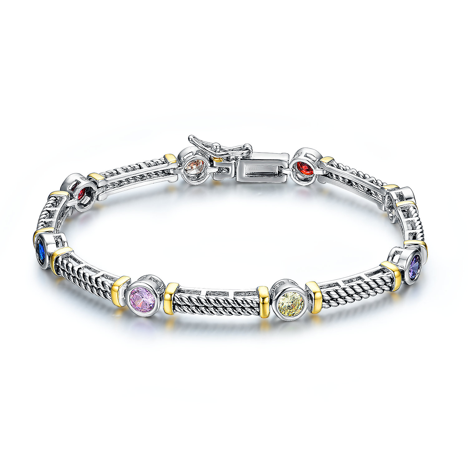 BR3121-Designer inspired cable texture 2-tone Multi-color Round stone bracelet from China Top Jewelry Manufacturer