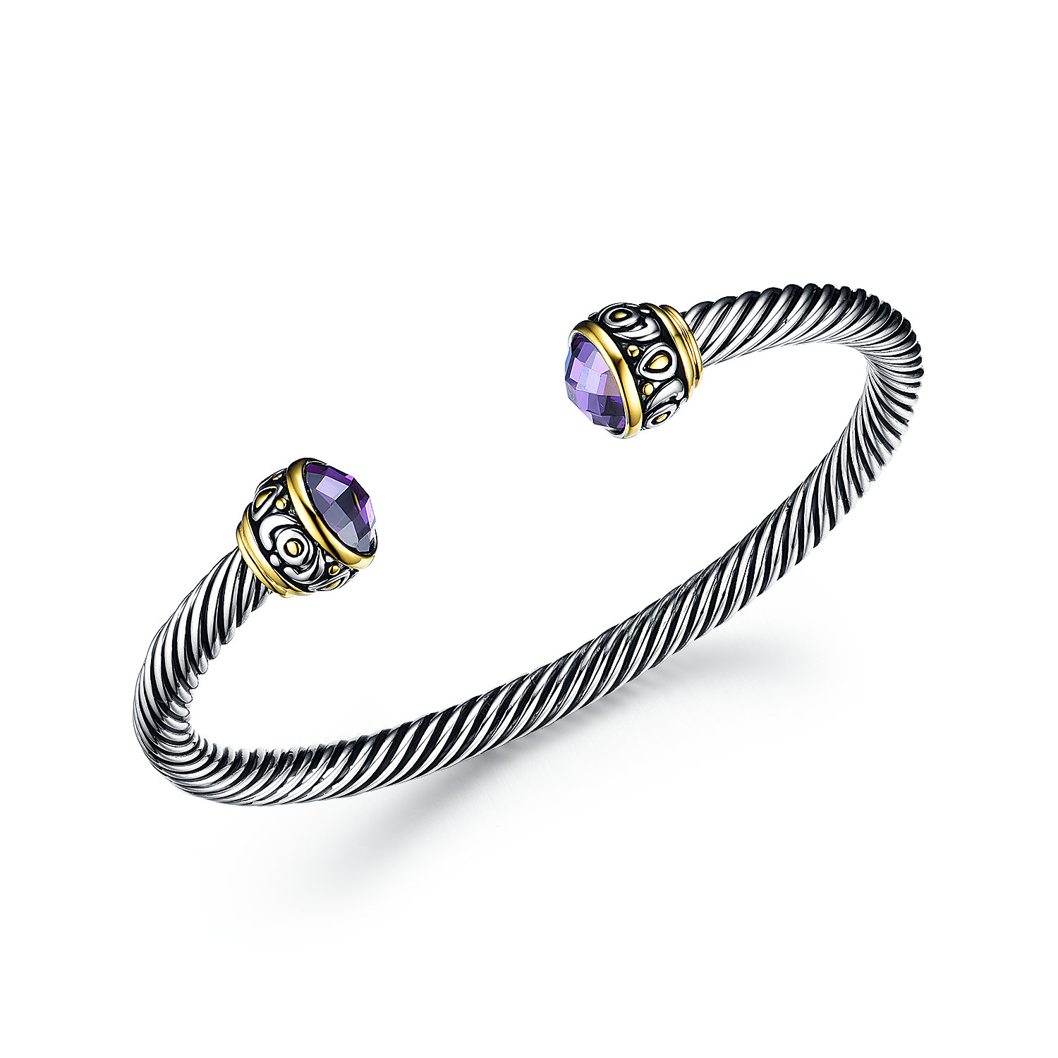 ST2769BA-Designer inspired Vintage Cable 2-tone Bangle  with Amethyst CZ from China Top Jewelry factory