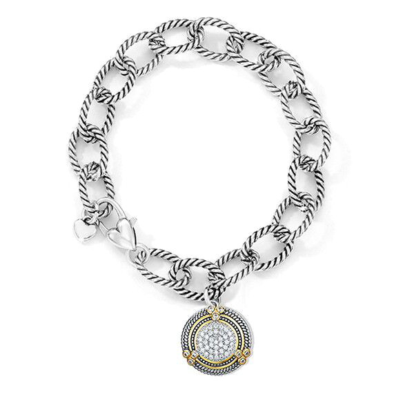 ST2765BR-Designer inspired cable links bracelet with two-tone round charm from China reliable Jewelry factory