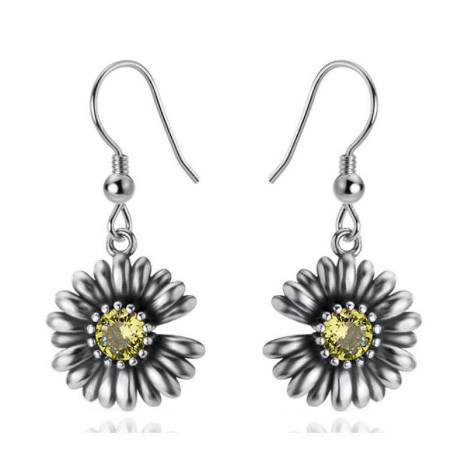 ST2762E-Popular & Elegant Designer inspired Vintage Daisy Earring with prongs setting Peridot CZ Plated Rhodium from China Top Jewelry Manufactuer
