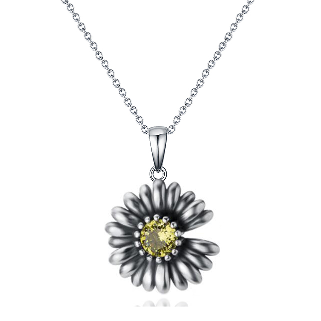 ST2762P-Popular & Elegant Designer inspired Vintage Daisy Pendant with prongs setting Peridot CZ Plated Rhodium from China Top Jewelry Manufactuer