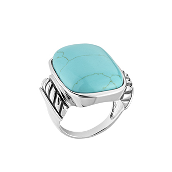 RI4521-Turquoise Ring in Sterling Silver plated White Gold from China Jewelry factory