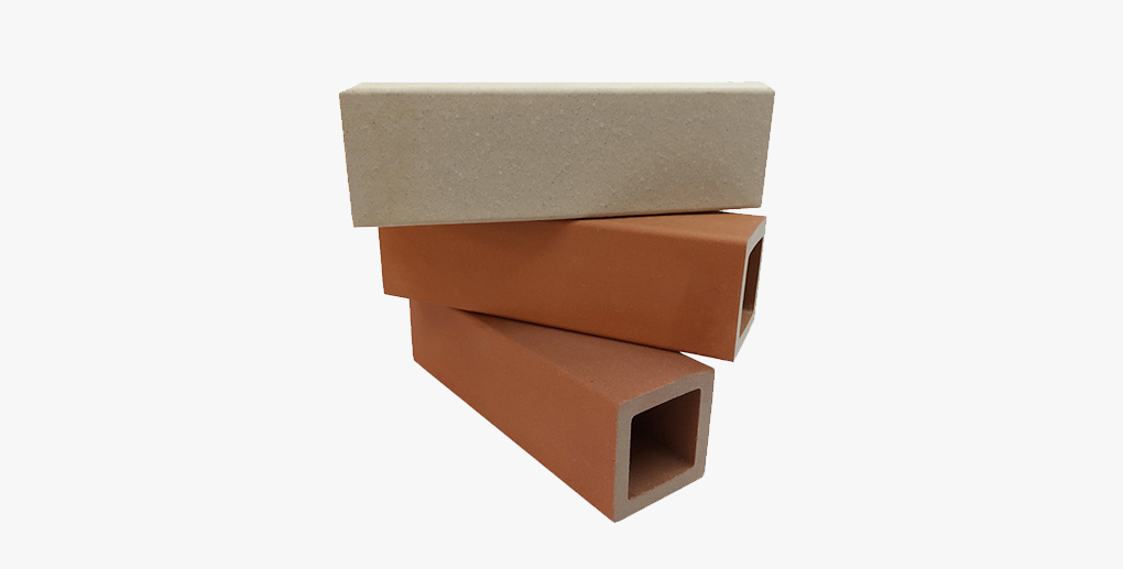 Natural clay terracotta baguettes for wall facade decoration