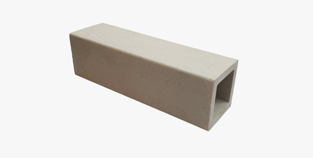 White square 50x50 vertical terracotta baguettes